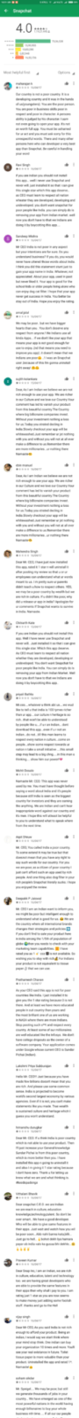 Snapchat Play store Reviews Section